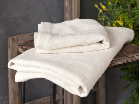 Linen light ivory white towel - Velvet Valley