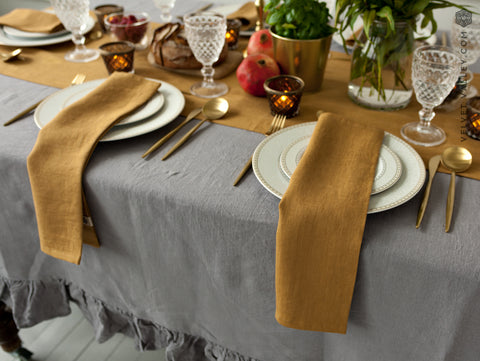 Linen mustard brown napkins - Velvet Valley