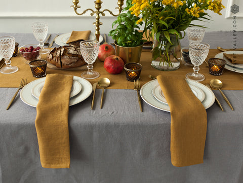 Linen mustard brown table runner