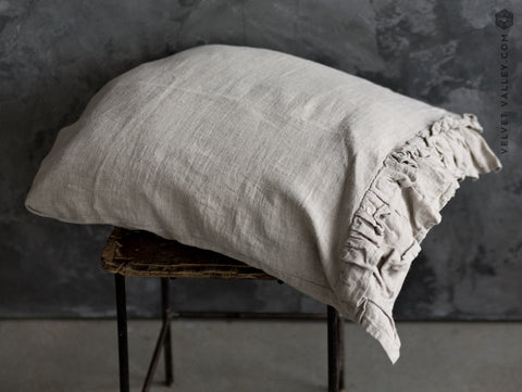 Linen beige pillow sham with ruffles - Velvet Valley