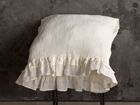 Linen ivory white pillow sham with ruffles - Velvet Valley
