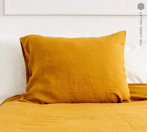 AMBER YELLOW linen pillow case