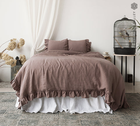 RUSTIC ROSE duvet cover with ruffles