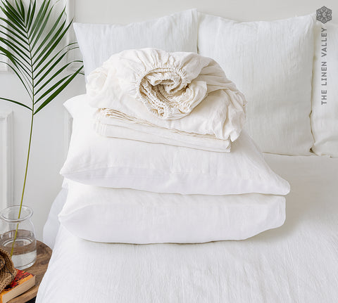 OPTICAL WHITE set of linen sheets