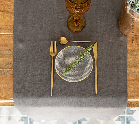 CHARCOAL GREY linen table runner