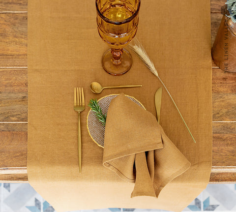 DUSTY MUSTARD linen table runner