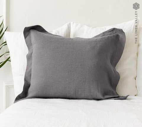 CHARCOAL GREY linen Oxford pillow
