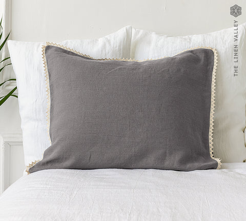 CHARCOAL GRAY linen pillow case with lace