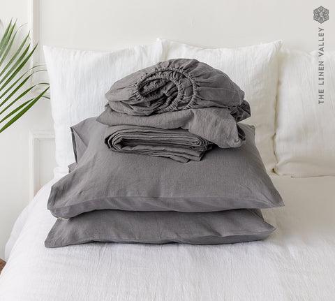 CHARCOAL GREY set of linen sheets