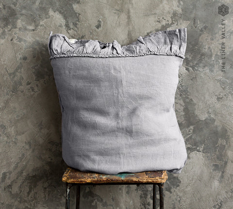 CHARCOAL GREY linen pillow sham with ruffles