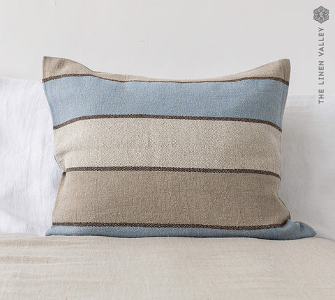 STRIPED linen pillow sham with zipper