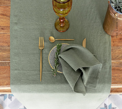 MOSS GREEN linen table runner