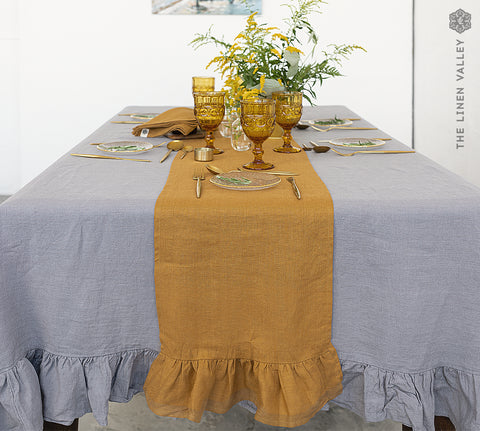 CINNAMON BROWN linen table runner with ruffle