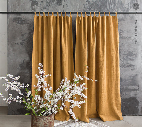 Linen dusty mustard curtain