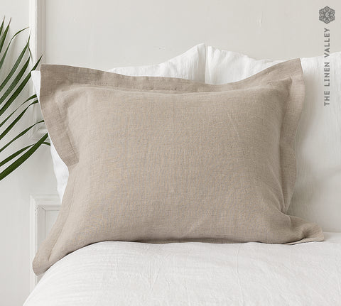 NATURAL UNBLEACHED linen Oxford pillow case