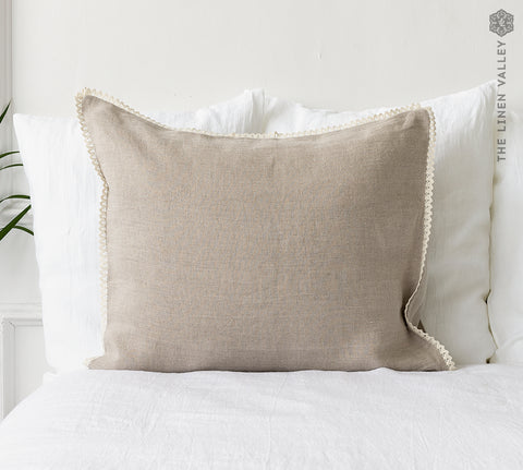 RUSTIC linen pillow case with LACE