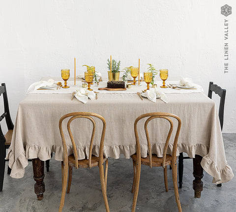 NATURAL UNBLEACHED linen tablecloth with ruffles