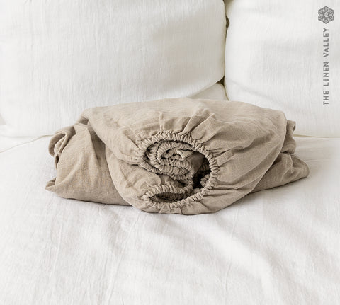 NATURAL UNBLEACHED linen fitted sheet