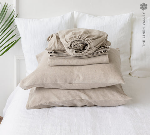 NATURAL UNBLEACHED linen set of sheets