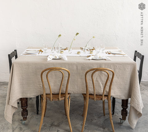 NATURAL UNBLEACHED linen tablecloth