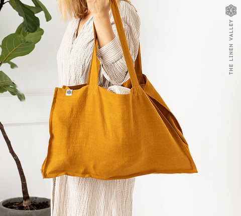 AMBER YELLOW linen tote bag
