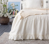 OFF WHITE linen bed valance with ruffles