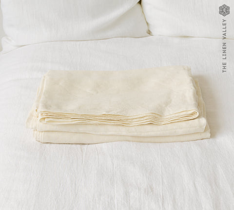 OFF WHITE linen flat sheet