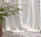 OFF WHITE LINEN curtain with ruffles