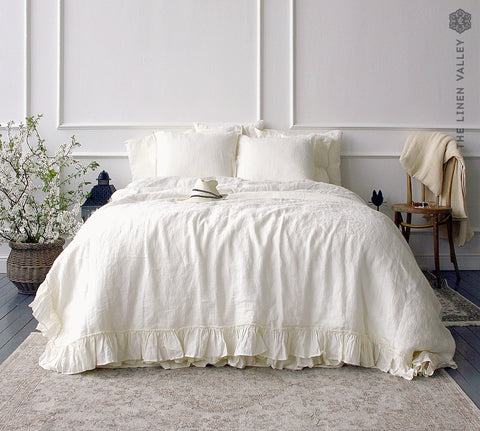 OPTICAL WHITE linen comforter cover