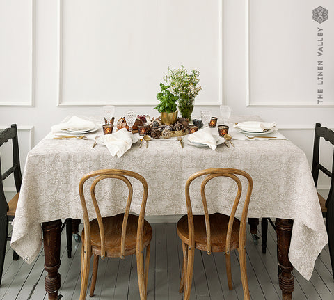 NATURAL LINEN floral tablecloth