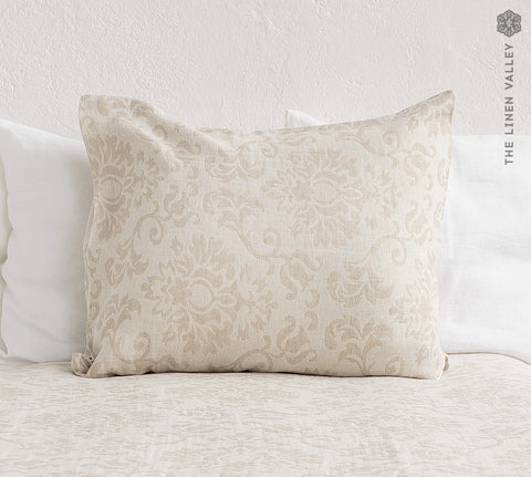 ROYAL FLORAL linen pillow sham