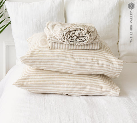 STRIPED linen set of sheets