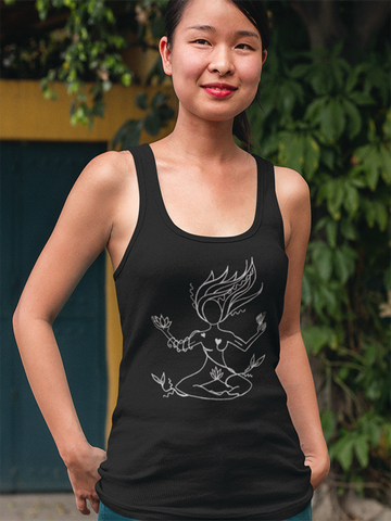 Earth Goddess Tulip Singlet - Black