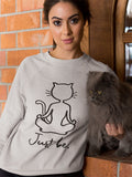 Yoga Cat Sweatshirt - Grey / White
