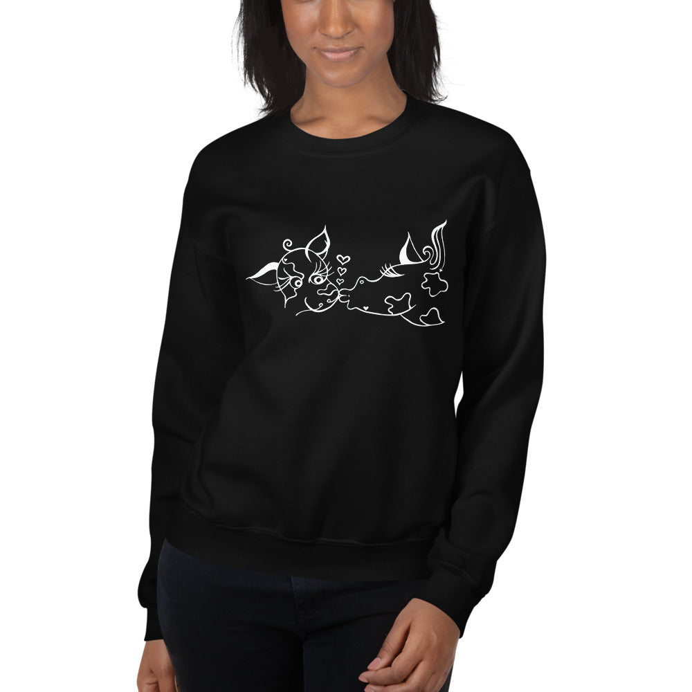 Kissing Cows Sweatshirt - Black