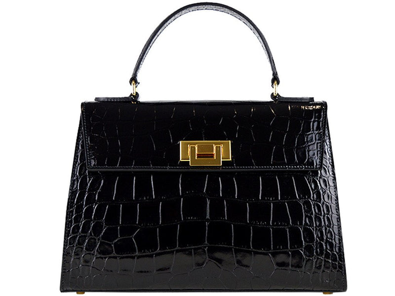 Fonteyn Mignon 'Croc Print' Leather Handbag - Black