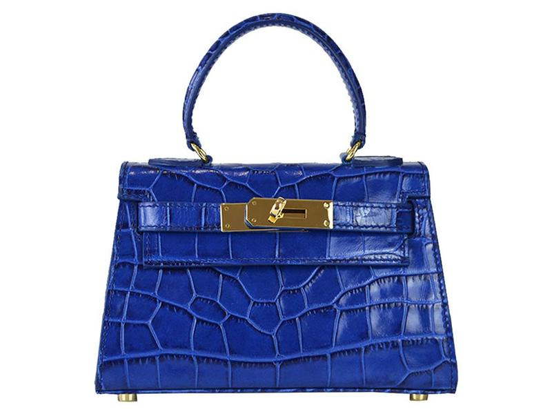 Manon Mignon 'Croc Print' Leather Handbag - Cobalt
