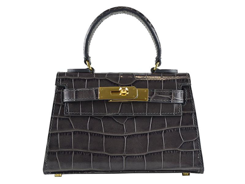 Manon Mignon 'Croc Print' Leather Handbag - Dark Grey