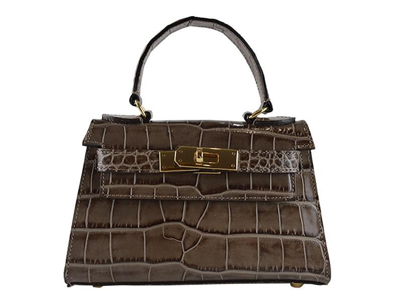 Manon Mignon 'Croc Print' Leather Handbag - Taupe