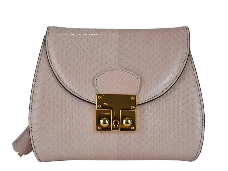 Papillon - Snakeskin Shoulder Bag - Cream