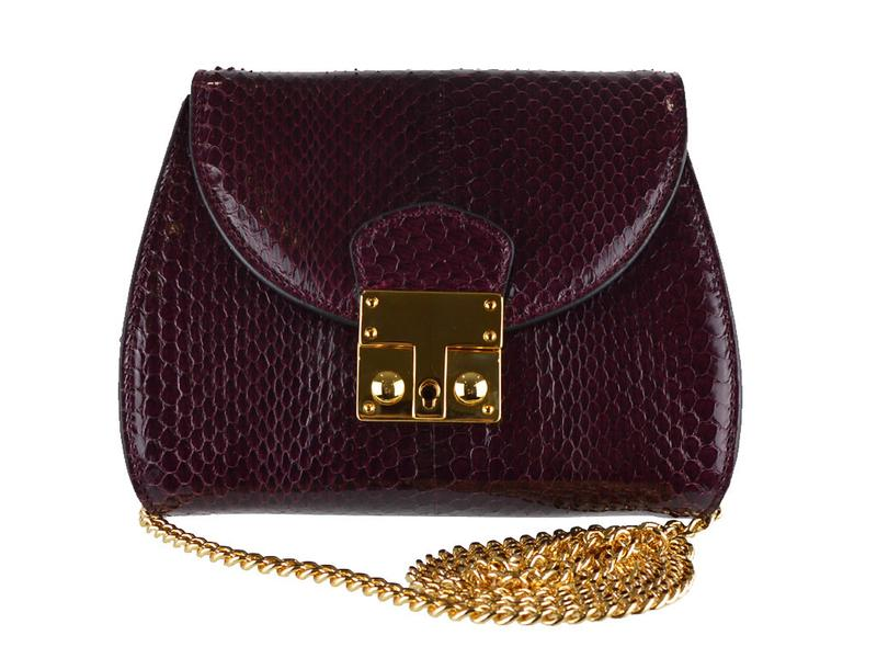 Papillon - Snakeskin Shoulder Bag - Burgundy