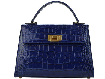 Fonteyn Mignon 'Croc Print' Leather Handbag - Navy