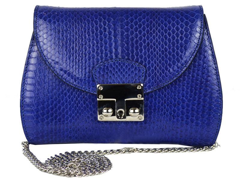 Papillon - Snakeskin Shoulder Bag - Cobalt