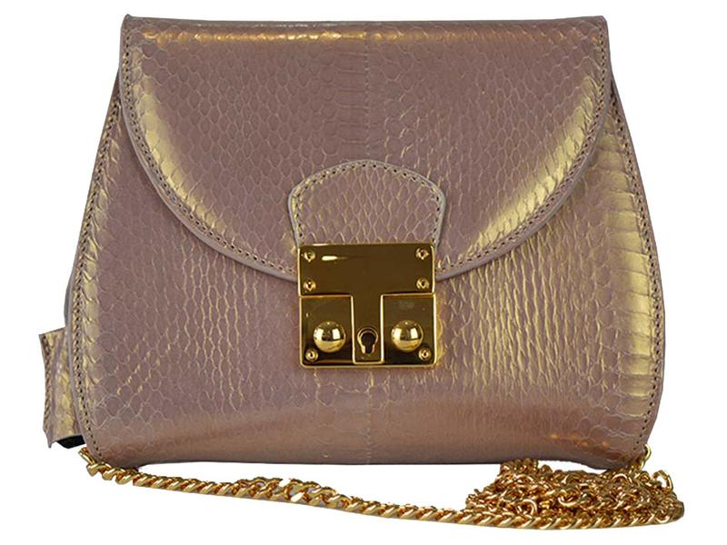 Papillon - Snakeskin Shoulder Bag - Gold