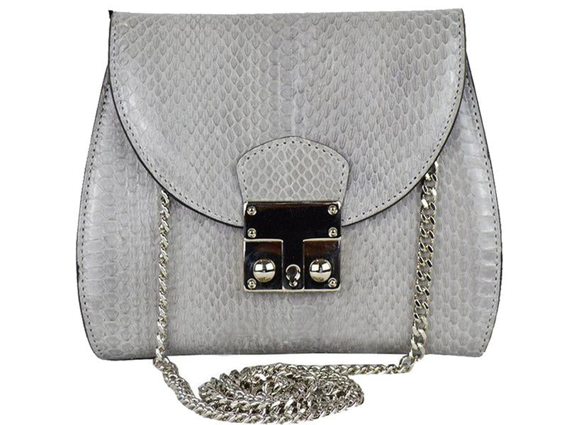 Papillon - Snakeskin Shoulder Bag - Pale Grey