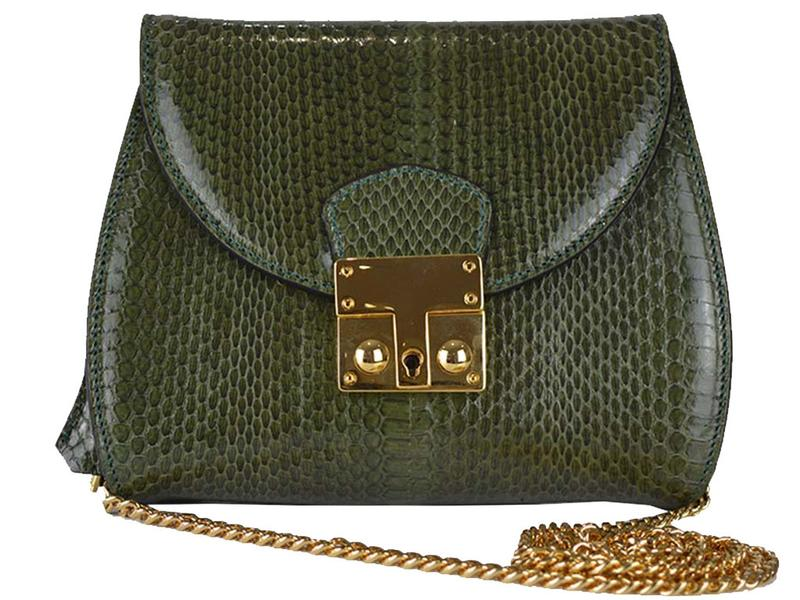 Papillon - Snakeskin Shoulder Bag - Olive