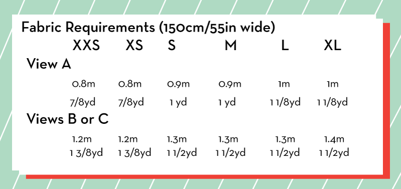Fabric requirement chart for the Kinetic Tee sewing pattern