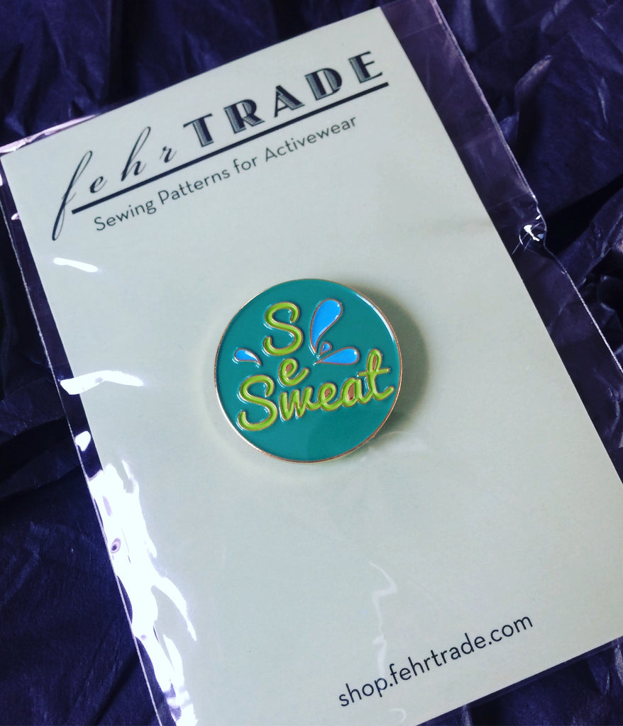Sew/Sweat enamel badge