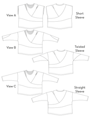 Kinetic Tee pdf sewing pattern - technical drawings Views A, B, and C