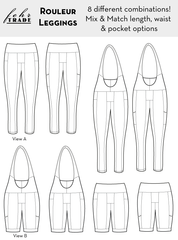 Rouleur Leggings pattern - technical drawing of all eight combinations of interchangeable length, waist treatment, and pocket type